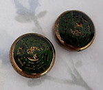 6 pcs. green glass w antiqued gold intaglio yin yang i ching coin beads 16x4mm  - f4949