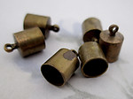 18 pcs. raw brass end caps w 6mm opening 11x7mm - f4952