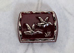 2 pcs. glass flying geese ducks birds cameo cabochon 15x12mm - f4980
