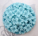 4 pcs. resin hydrangea blue flower floral relief cameo flat back cabochon 37mm - f5082