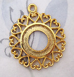 gold tone casted heart edge filigree pendant w 18mm cabochon settings 33mm - f5088