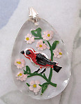 glass reverse painted intaglio orange bird in blossoming cherry fruit tree pendant 31x23mm - f5157
