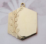 5 pcs. gold tone pendant charm w leaf design 31x26mm - f5170