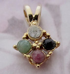 3 pcs. gold tone plated small pendants w rough hewn genuine ruby, jade, onyx and diamond chip - f5211