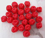 25 pcs. glass red baroque pinched beads 7mm - f5262