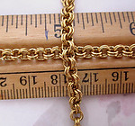 2 feet raw brass double link cable chain 4mm wide - f5274