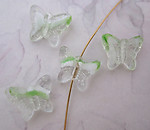 12 pcs. glass green givre butterfly beads 16x12mm - f5320