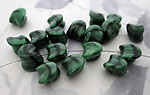 18 pcs. Czech glass green and black baroque nugget beads 13x12x10mm - f5360