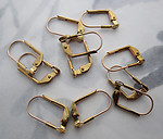30 pcs. raw brass lever back earring findings w 3mm pad for gluing - f5398