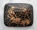 glass reverse painted intaglio cabochon of a woman trapped in a spider web 28x22mm - f5419