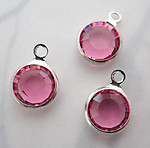9 pcs. Swarovski rose pink silver plated channel set rhinestone charms 8mm - f5428