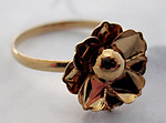 gold tone adjustable ring w 12mm flower - f5448