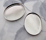 6 pcs. silver tone plated high wall bezel cup settings 30x23mm - f5449