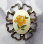 3 pcs. yellow rose flower cabochon in filigree raw brass flower setting charm pendant - f5451