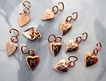 30 pcs. tiny gold plated brass heart charms with initial letter M for mine 8x7mm - f5469