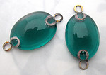 6 pcs. emerald green glass handmade connector charms - f5558