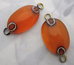 10 pcs. orange glass handmade connector charms - f5563