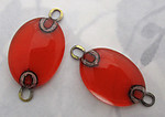 2 pcs. red orange glass handmade connector charms - f5564