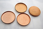 12 pcs. copper bezel settings trays for 15mm flat back cabochons- f5591