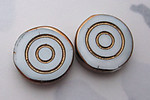 2 pcs. white glass concentric circle gold intaglio coin beads 16x4mm - f5686