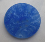 blue pressed glass floral flower cameo relief cabochon 21mm - f5801
