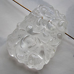 2 pcs. chunky lalique lucite carved paisley bead drop focal pendant charm 46x33x10mm - f5840