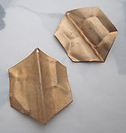 2 pcs. raw brass folded and textured 6 sided hexagon stamping charms 34x27mm - f5878