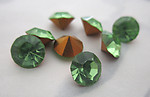 8 pcs. MCC machine cut crystal peridot green foiled rhinestones ss31 - f5941