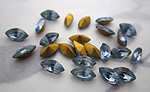 24 pcs. glass light sapphire blue foiled navette rhinestones 8x4mm - f5942
