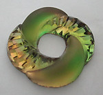 glass green and topaz givre frosted and textured art deco circle donut cabochon 29mm - f5982