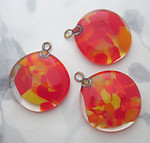 2 pcs. chunky handmade glass orange and yellow pendant charm 32mm - f5984