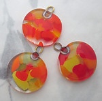3 pcs. chunky handmade glass orange and yellow confetti pendant charm 23mm - f5985