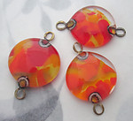 3 pcs. chunky handmade glass orange and yellow 2 hole connector pendant charm 23mm - f5986