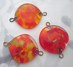 2 pcs. chunky handmade glass orange and yellow 2 hole connector pendant charm 32mm - f5987