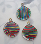chunky handmade glass multi color stripe pendant charm 32mm - f6030