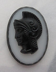 glass Ajax Greek warrior head cameo cabochon 18x13mm - f6116