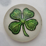 glass reverse painted intaglio four leaf clover good luck cabochon 18mm - f6120