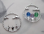 6 pcs. silver tone plated flower stems and clouds circle charms 28mm - f6130