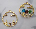 6 pcs. matte gold tone plated flower stems and clouds circle charms 28mm - f6132