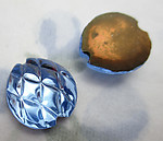 4 pcs. glass pineapple harlequin textured light sapphire blue foiled cabochons 14mm - f6213