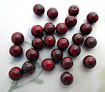 25 pcs. Czech glass red speckled round beads 8mm - f6223