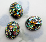 3 pcs. glass black w multi color foil inclusions flat back cabochons 12x11mm - f6235