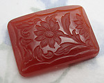 glass carnelian etched floral flower cabochon 24x18mm - f6255