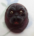 antique glass purple pug dog bulldog painted cameo cabochon 21x16mm - f6264