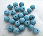 25 pcs. Czech glass opaque light turquoise blue speckled beads 10mm - f6307