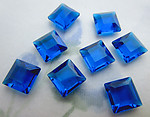 24 pcs. TTC table tin cut unfoiled capri blue square rhinestones 8mm - f6319