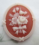 2 pcs. oval plastic floral flower carnelian and cream cameo cabochons 40x33mm - f6322