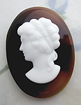 Glass brown swirl beveled edge w white profile portrait cameo cabochon 40x30mm - f6323