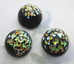 2 pcs. glass black w colorful speckled foil inclusion cabochons 13mm - f6325