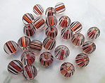 25 pcs. glass topaz and black striped beads 8x7mm - f6334